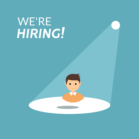 Career recruitment or hiring vector concept. Spotlight looking job, hiring employment. Illustration