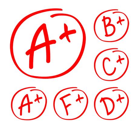 Ensemble de résultats de notation. Grade vectoriel dessiné à la main dans un cercle rouge. Rapport de note d'examen de test.