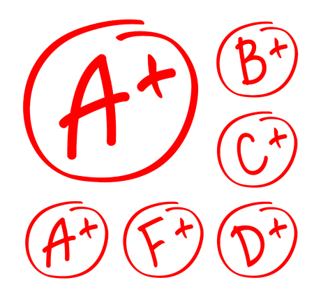 Grade results set. Hand drawn vector grade in red circle. Test exam mark report.