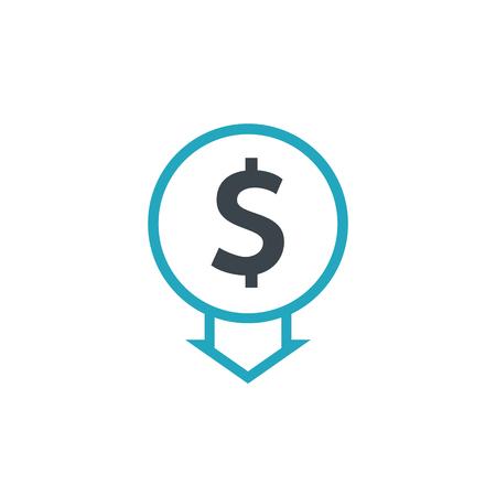 Cost reduction icon dollar. Price decrease arrow symbol. business sale sign illustration.