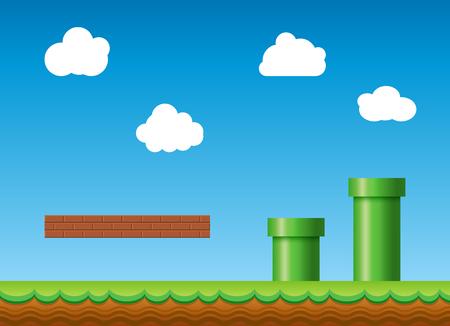Vecchio sfondo di videogiochi retrò. Scenario di game design in stile retrò classico. Vettoriali