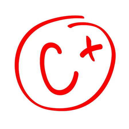 Note C plus. Handgezeichnete Vektorklasse C plus im roten Kreis. Bericht über die Prüfungszeugnisse.