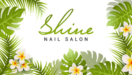 Nail salon business card design. Manicure beauty salon banner with tropic leaves and flower.