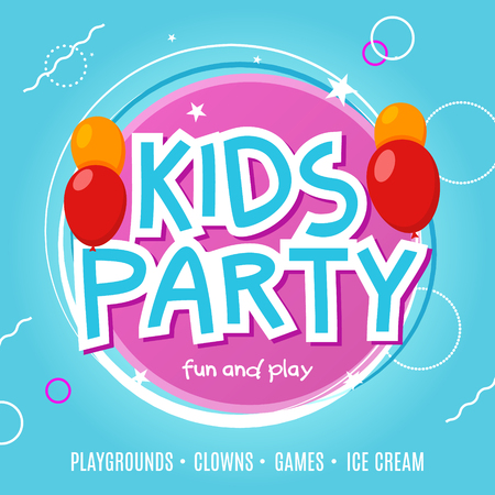 Kids fun party celebration flyer design template. Child event banner decoration. Birthday invitation poster background.