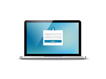 Laptop login password on lock screen. Computer security protection login user concept form. Çizim
