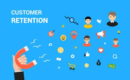 Customer retention flat vector web design. Target marketing strategy retention concept. Vektoros illusztráció
