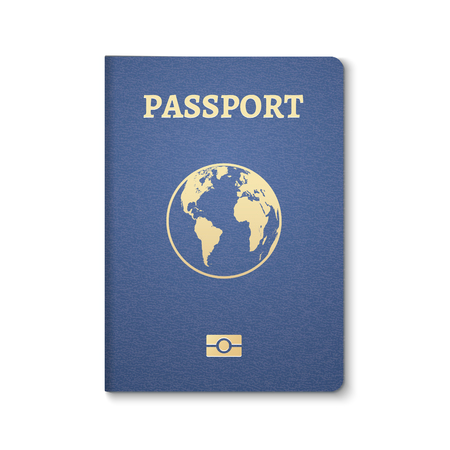 Passport document ID. International pass for tourism travel. Emigration passport citizen ID with globe. Vektoros illusztráció
