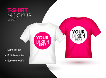 Blank t-shirt template clothing fashion. White and blue shirt design with sleeve cotton uniform.