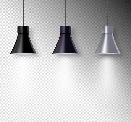 Lamp illuminators on wall interior. Transparent light effect design. Spotlight vector equipment.