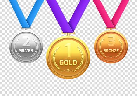 Prix médaille d'or argent et bronze. Champion en métal pour le gagnant. Réalisation de vecteur.