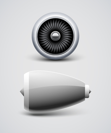 Jet airplane engine turbine front side view. Air blade fan, power engine of aircraft. Illustration