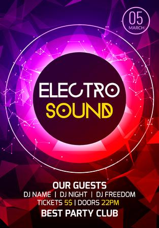 Poster di musica per feste electro sound. Musica profonda da club elettronica. Suono di trance da discoteca per eventi musicali. Invito alla festa notturna. Manifesto del volantino del DJ.