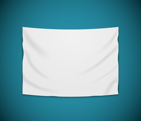 White blank vector banner textile. Empty hanging fabric banner illustration design. Ilustrace