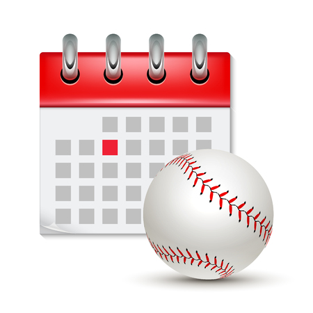 Sport calendar and baseball realistic foot ball. Month date schedule competition event. Baseball calendar icon.