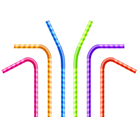 Drinking straws set. Vector colorful pipe tube plastic straw for juice, cocktail isolated.