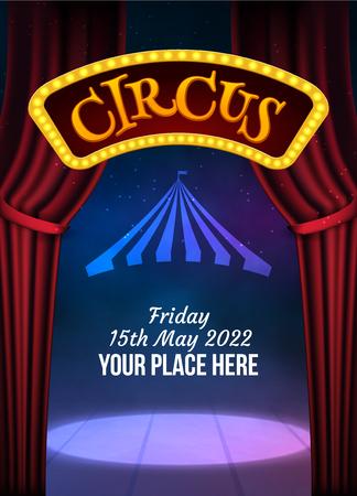 Plantilla de cartel de espectáculo de circo con letrero y marco de luz. Invitación de circo festivo. Ilustración de espectáculo de carnaval de vector. Ilustración de vector