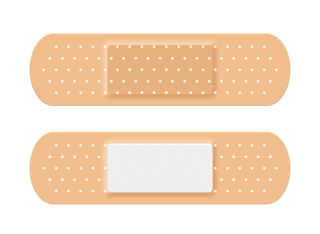 Adhesive medical plaster strip bandage. Medical patch aid strip.