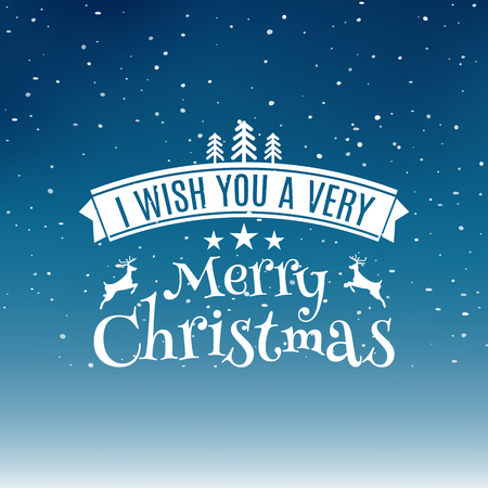Merry Christmas text label on a winter background with snow and snowflakes. Greeting card template. Vector illustration design. Illustration