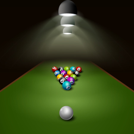 Billiard balls on table vector with light. Billiard game sport competition leisure illustration.