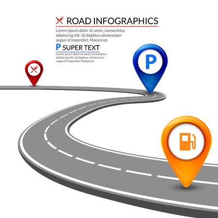 3d road infographic concept on a white background. Business highway element design.
