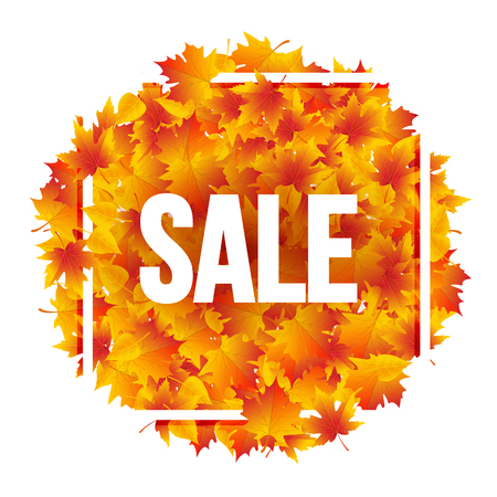 Autumn Sale poster with yellow leaves. Fall sale discount poster template. 写真素材 - 110031844