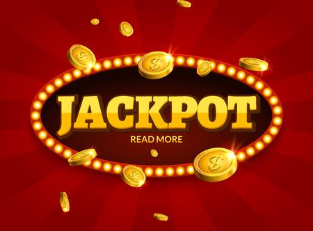 Shining retro sign Jackpot billboard banner. Vector decoration illustration for poker casino or show.