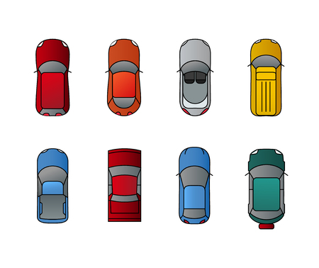 Cars top view set. Flat design style. Vector transport illustration automobile. Traffic car design.