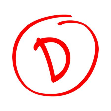Notenergebnis D. Handgezeichneter Vektor Grad D im roten Kreis. Prüfprüfungsbericht. Vektorgrafik