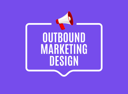 Outbound marketing speech bubble. Megaphone outbound media marketing business advertising promotion. Illustration