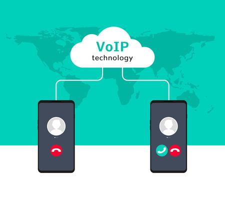 Voix VoIP sur smartphone illustration IP. Conception de concept plat d'appel voip. Vecteurs