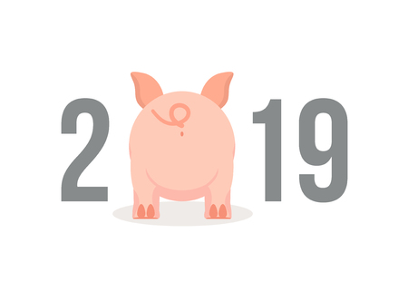 Little Pig butt. Chinese New Year 2019 background. Year of the pig cartoon character. Ilustrace