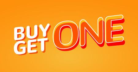 Buy 1 Get 1 Free sale poster. Banner design template for marketing. Special offer promotion or retail. Vektoros illusztráció
