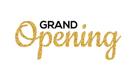Grand Opening Gold calligraphic lettering design text. Vector handwritten isolated grand opening type.