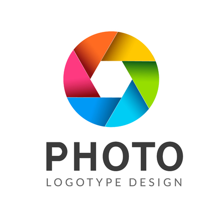 Fotografie-Logo-Vorlage modernes Vektor-kreatives Symbol. Shutter-Objektiv-Kamera-Icon-Design-Element. Logo