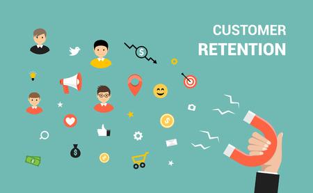 Customer retention flat vector web design. Target marketing strategy retention concept.