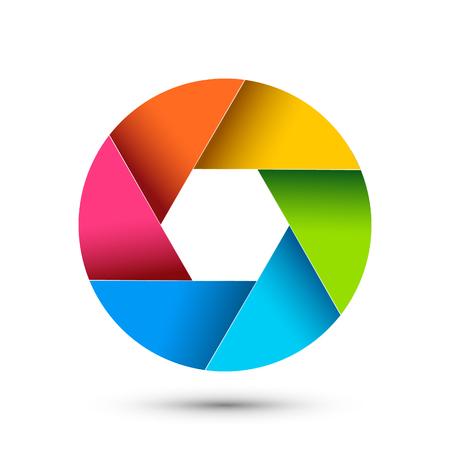 Apertura del icono de fotografía del obturador de la cámara. Diseño digital de zoom de lente colorida de vector de enfoque.