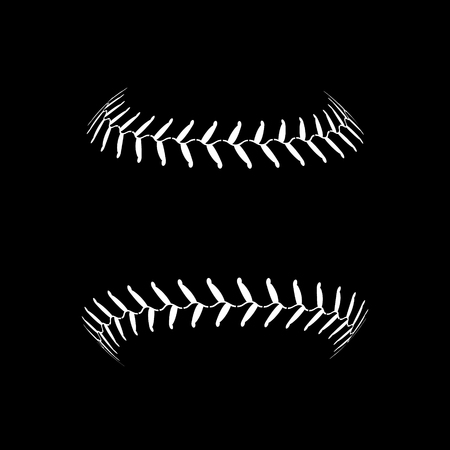 Baseball lace ball illustration isolated symbol. Vector baseball background sport design. Standard-Bild - 110683701