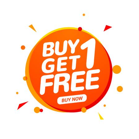 Compre 1 obtenga 1 etiqueta de venta gratis. Plantilla de diseño de banner para marketing. Promoción de oferta especial o retail.