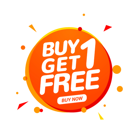 Kaufe 1 Erhalte 1 Gratis-Verkaufsetikett. Banner-Design-Vorlage für das Marketing. Sonderangebot Promotion oder Einzelhandel.