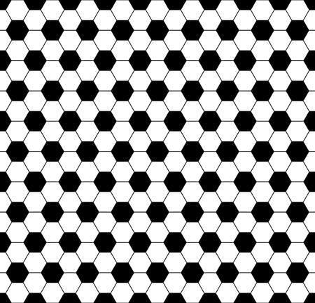 Nahtlose Fußball Fußball Sechseck schwarze Hintergrundbeschaffenheit. Vektor-Fußball-Hintergrund-Sport-Konzept.