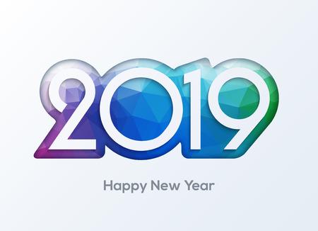 Bonne année 2019 nombres vecteur de conception. Bannière de carte de voeux 2019.