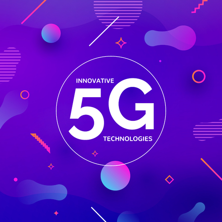 5G wireless internet connection network background. High speed 5g data communication mobile phone concept. Illustration