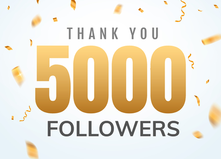 Thank you 5000 followers design template social network number anniversary. Social users golden number friends thousand celebration.