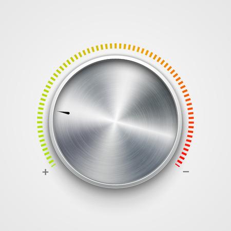 Volumenknopf Metall Textur Stahl Chrom. Geräuschpegel des Musikknopfs. Soundpanel-Tuner-Schnittstelle.