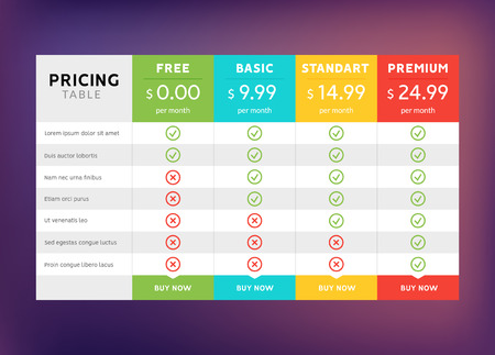 Pricing table design for business. Price plan web hosting or service. Table chart comparison of tariff. Illustration