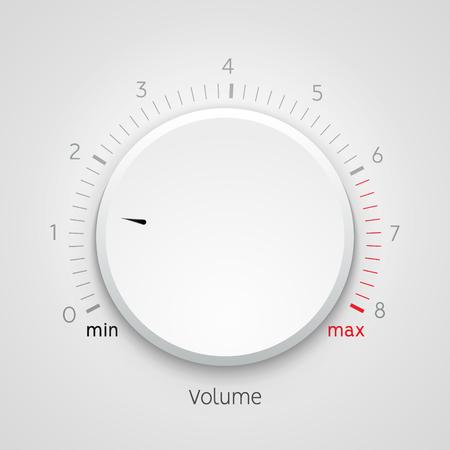 Symbolfeld für den Lautstärkeregler für den Musikregler. Audio-Knopfelement-Schnittstelle.