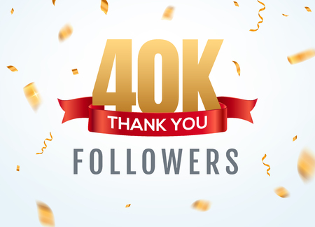 Thank you 40000 followers design template social network number anniversary. Social 40k users golden number friends thousand celebration.