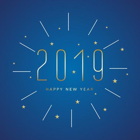Happy New 2019 Year shining numbers background. Christmas celebration card gold decoration.