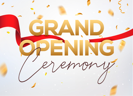 Grand Opening ceremony poster concept invitation. Grand opening event decoration party template. Imagens - 114639013