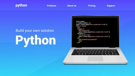 Python programming code technology banner. Python language software coding development website design.